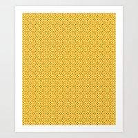 yellow pattern Art Prints featuring yellow pattern by Artemio Studio