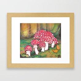 Mushrooms in the Woods Framed Art Print