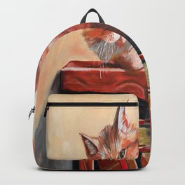 Red cat on a bookshelf Backpack
