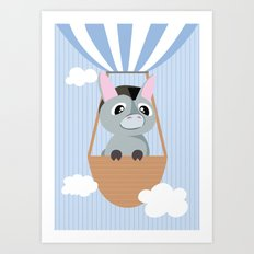 Mobil series hot air balloon donkey Art Print