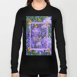 Decorative Lilac  Floral  Yellow Butterflies Long Sleeve T-shirt