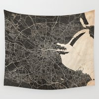 dublin Wall Tapestries featuring dublin map ink lines by NJ-Illustrations