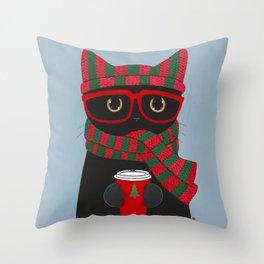 Black Cat Christmas Coffee Throw Pillow