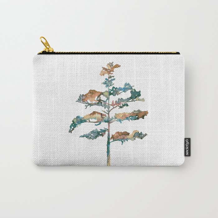 Pine Tree #2 in pink and blue - Ink painting Carry-All Pouch
