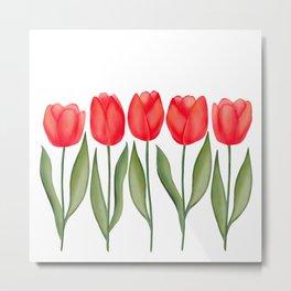 Red Spring Tulips Watercolor Flowers Metal Print