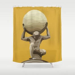 Yellow Man with Big Ball Illustration Shower Curtain