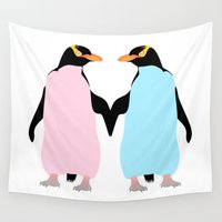 penguins Wall Tapestries featuring Penguins by mailboxdisco