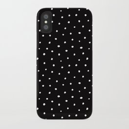 Minimal- Small white polka dots on black -Mix & Match with Simplicty of life iPhone Case