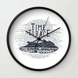Time To Race. Water Scooter Wall Clock