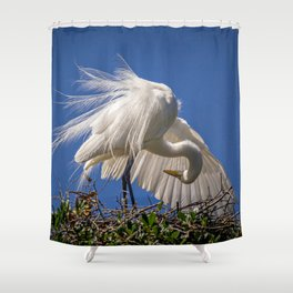 Great Egret Feathers Shower Curtain
