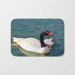 Black-Necked Swan With Baby Bath Mat