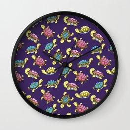 Turtles on purple Wall Clock