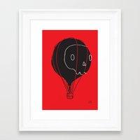 hot air balloon Framed Art Prints featuring Hot Air Balloon Skull by Fupete Art