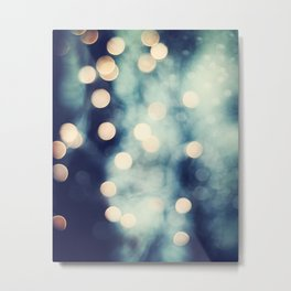Bokeh Lights Sparkle Photography, Navy Gold Sparkly Abstract Photograph Metal Print