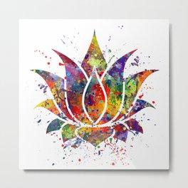 Lotus Flower 2 Watercolor Print Wall Art Wedding Gift Zen decor Metal Print