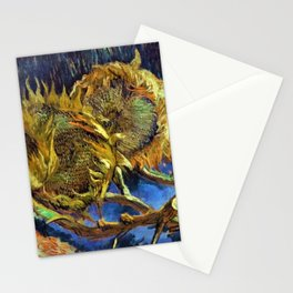 Four Cut Sunflowers - Auvers-sur-Oise Four sunflowers gone to seed by Vincent van Gogh Stationery Cards