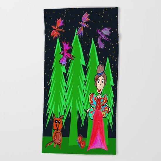 Night Fairy | Before Christmas | Kids Painting Beach Towel