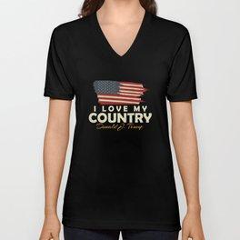 USA I LOVE MY COUNTRY Unisex V-Neck