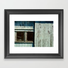 Teal garage door and windows Framed Art Print