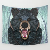 ornate Wall Tapestries featuring Ornate Black Bear by ArtLovePassion