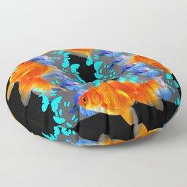 PATTERNED  BLUE BUTTERFLIES GOLD FISH & BLACK ARTWORK Floor Pillow