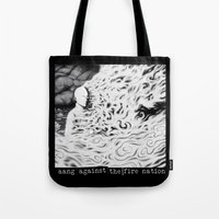 aang Tote Bags featuring Aang Against the Fire Nation by Pigboom Art