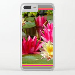 FUCHSIA PINK & YELLOW WATER LILIES Clear iPhone Case