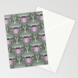 Lavender Flowers Art Nouveau Inspired Floral Pattern Stationery Cards