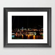 Manhattan at Night Framed Art Print