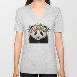 Baby Panda With Flower Crown, Baby Animals Art Print By Synplus Unisex V-Neck