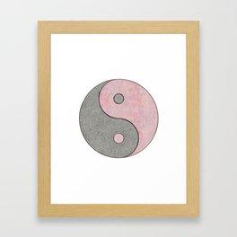 Yin Yang Esoteric Symbol Pastel Pink And Grey Framed Art Print