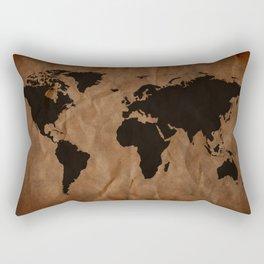 Old Wrinkled World Map Rectangular Pillow
