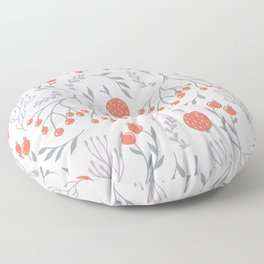 Red Berry Floral Floor Pillow