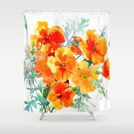 Orange Flowers Shower Curtains
