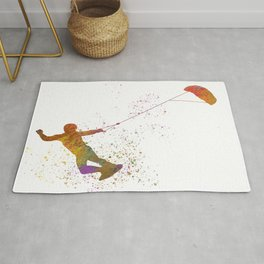 Young man practicing Kite Surf 04 in watercolor Rug