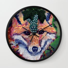 Fox Wearing Jewels Collage Wall Clock