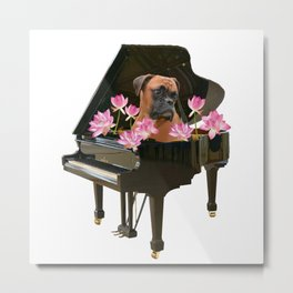 Piano - Boxer Dog - Lotos Flower Blossoms Metal Print