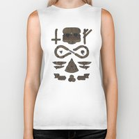 occult Biker Tanks featuring Fast Food Occult by Hector Mansilla