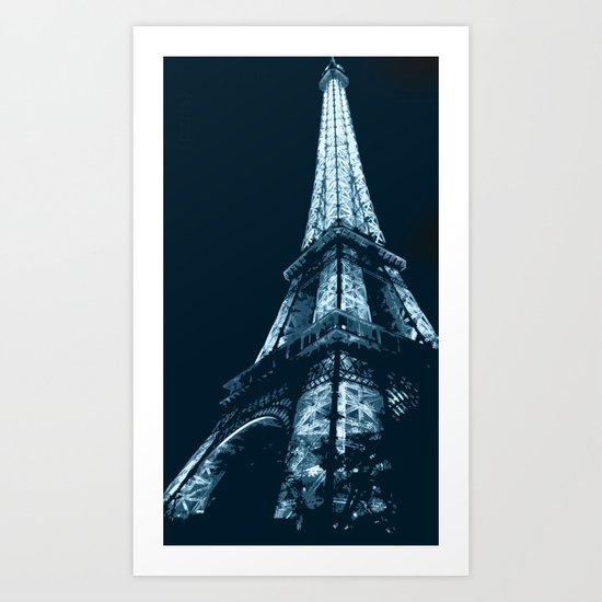 Eiffel Tower, blue Art Print