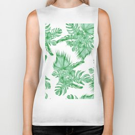 Palm Leaves and Hibiscus Tropical Green Biker Tank