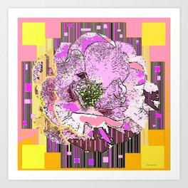 CosmicGolden Yellow-Pink-Grey Graphic Rose Design Art Print