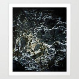 BLACK MARBLE ROCK WITH QUARTZ Art Print