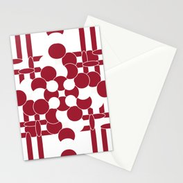 Abstract Burgundy Art Deco Circle Design Stationery Cards