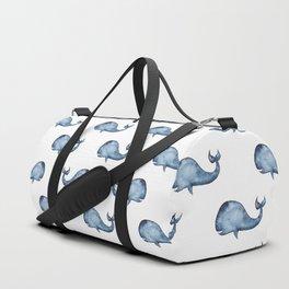 Blue whale watercolor. Navy animal baby pattern. Nautical kids art. Nursery water illustration Duffle Bag