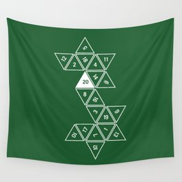 Green Unrolled D20 Wall Tapestry