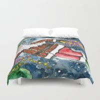 santa Duvet Covers featuring Santa by Shelley Ylst Art