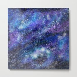 Blue Space Galaxy Metal Print