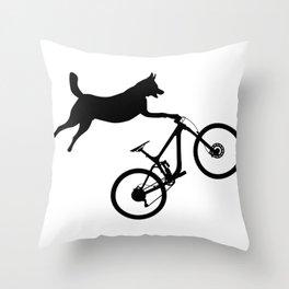 funny MTB mountain bike cycling dog lover gift Throw Pillow