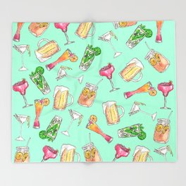 Fun Summer Watercolor Painted Mixed Drinks Pattern Throw Blanket