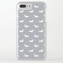 Dachshund pattern minimal grey and white dog lover home decor gifts accessories silhouette Clear iPhone Case